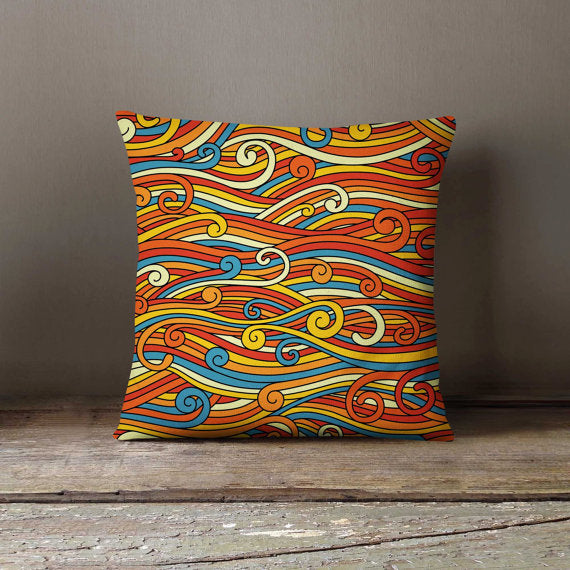 Colorful Waves Pattern Pillowcase | Decorative