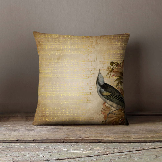 Golden Song Notes Bird Pillowcase Decorative Throw