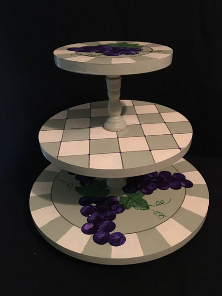 Hand Painted, Revolving 3-Tier Tray - Grapes