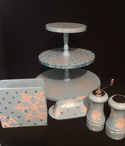 Hand Painted 3-Tier Revolving Tray - Lemons