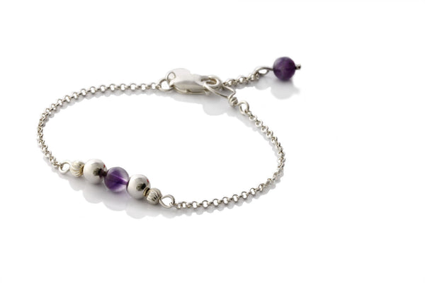 Sterling Silver Natural Amethyst Chain Bracelet