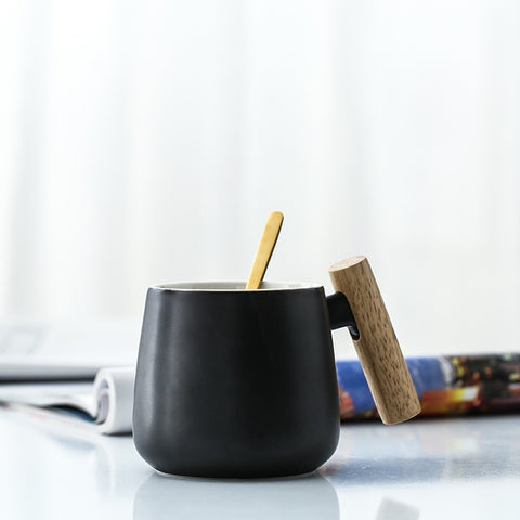 Short Coffee Mug with Wooden Handle