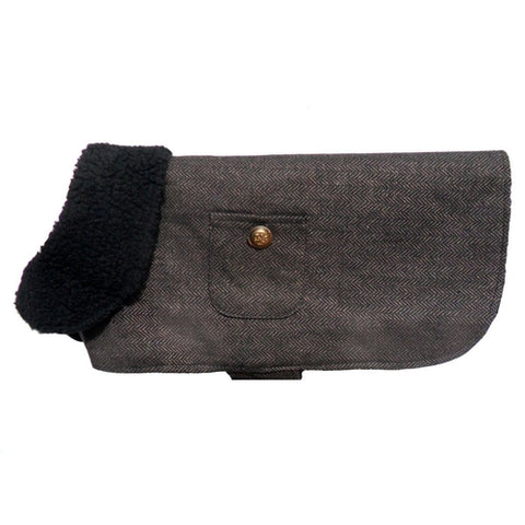 PA Brown Herringbone Dog Coat