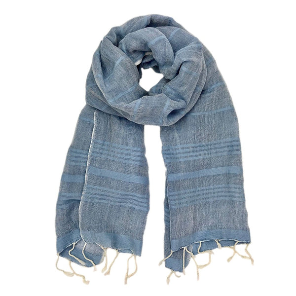 Cotton and Linen Stripe Turkish Scarf