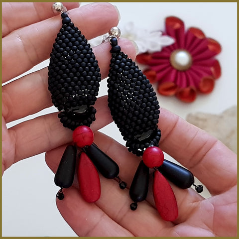 Stunning Statement Earrings - Black Agate