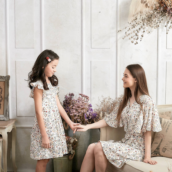 Flutter Sleeve Floral Dress (Set of 2)