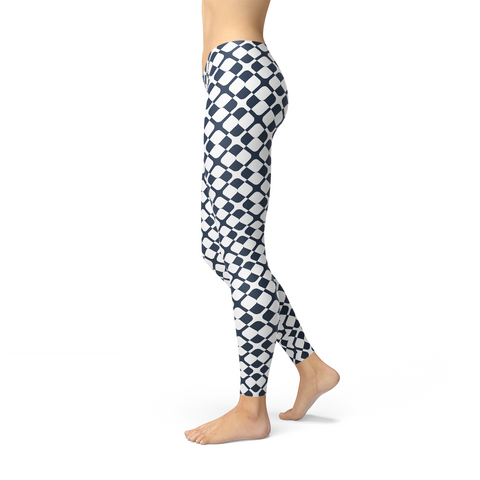 Womens Geometric Blue Tile Leggings