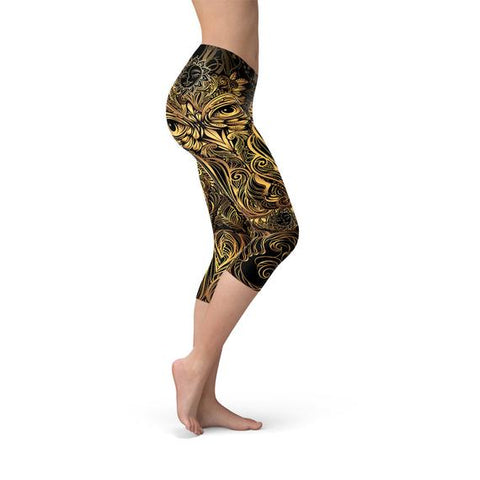 Womens Golden Ornament Owl Capri Leggings