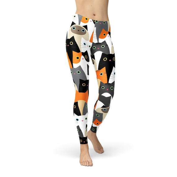 Womens All Over Print Cats Leggings