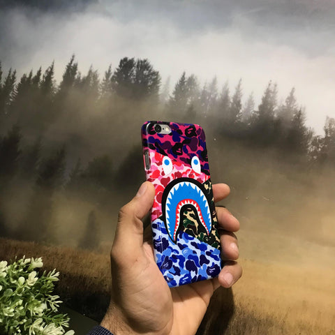 Multicolor Camo Shark iPhone and Samsung Case