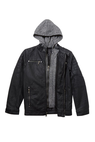 Vegan Leather Moto Jacket with Knit Hoodie