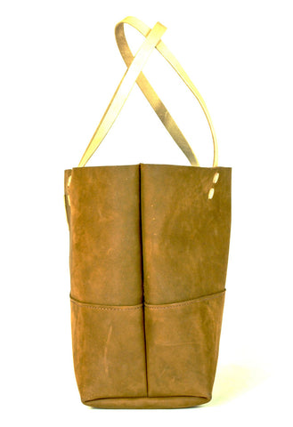 The Paxton Large Leather Tote in Brown