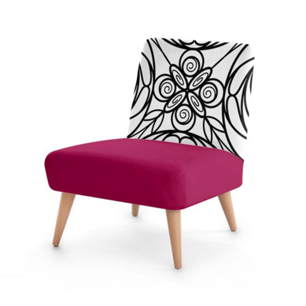 Wine Stained Glass Print Accent Occasional Chair