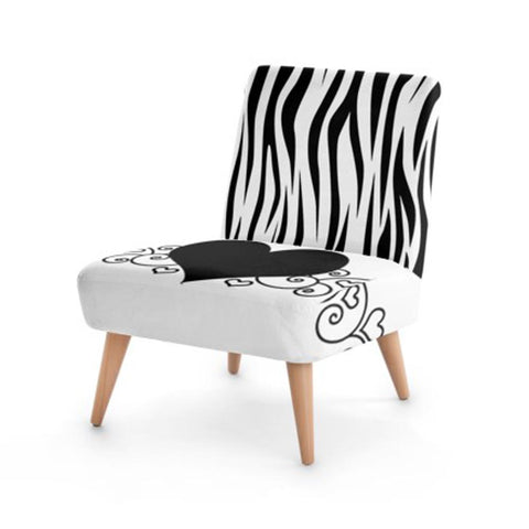 Zebra Heart Print Accent Occasional Chair