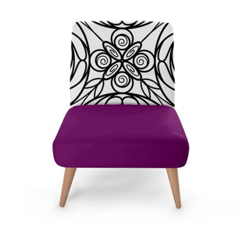 Purple Stained Glass Print Accent Occasional Chair
