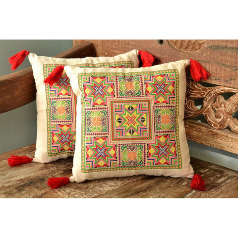 Handmade Needlepoint Tassel Pillow Cover