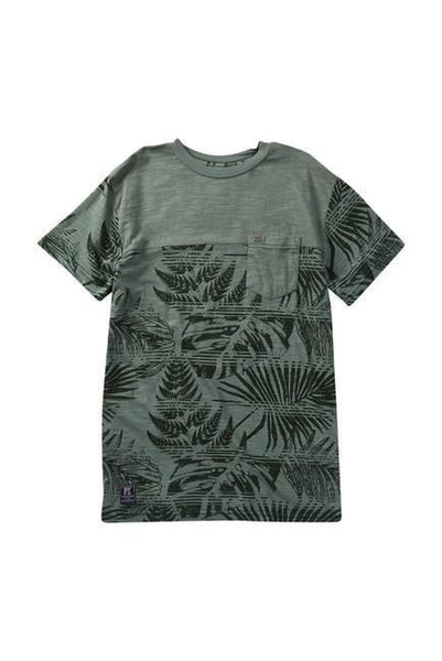 Green Hawaiian Print Pocket Tee