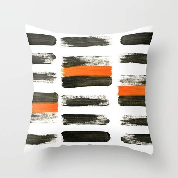 Orange Stripes Pillow Cover