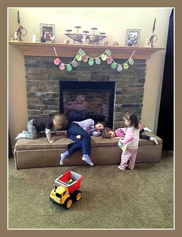 children safe on fireplace