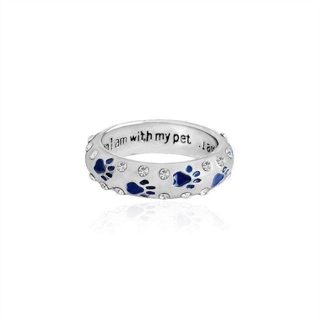 'When I am with my pet I am complete' Paw Ring