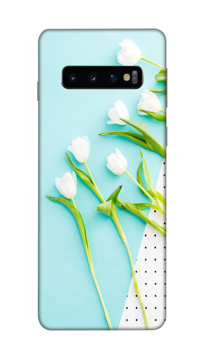 white flowers Hard Case For Samsung S10 Plus