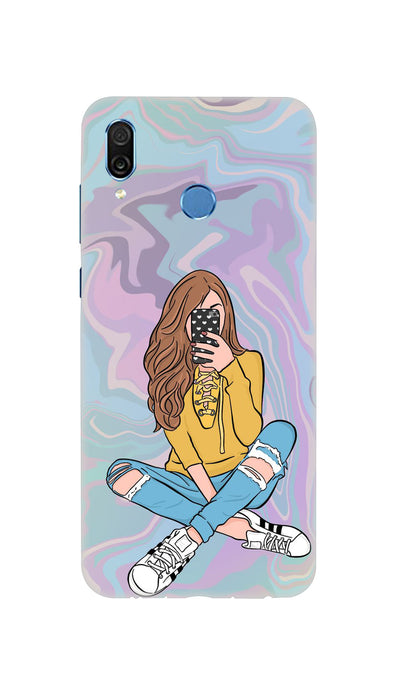 Selfie girl Hard Case For Honor Play