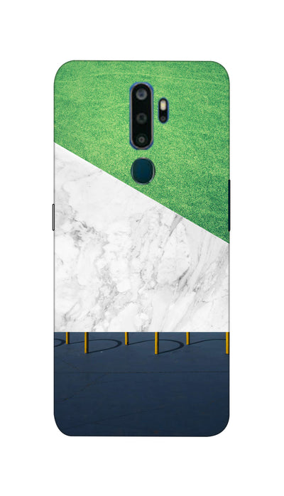 White And Green marbel  Hard Case For Oppo A5 ( 2020 )