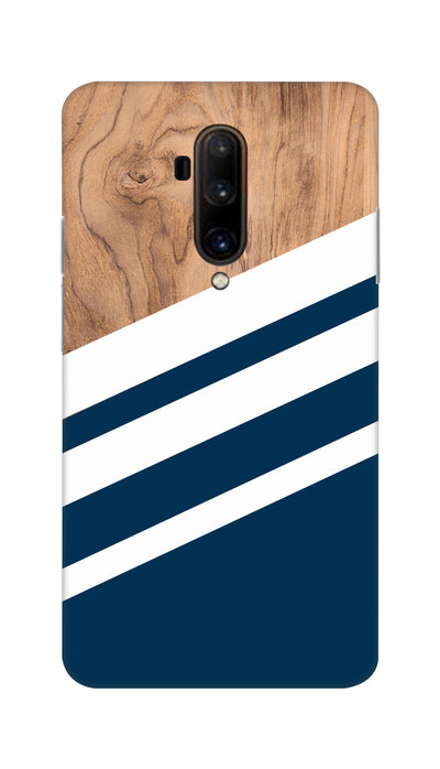 Blue & Wooden Design Hard Case For OnePlus 7T Pro
