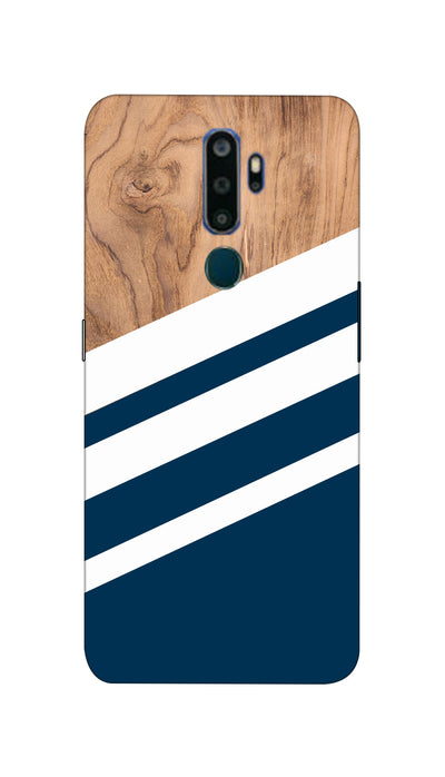 Blue & Wooden Design Hard Case For Oppo A5 ( 2020 )