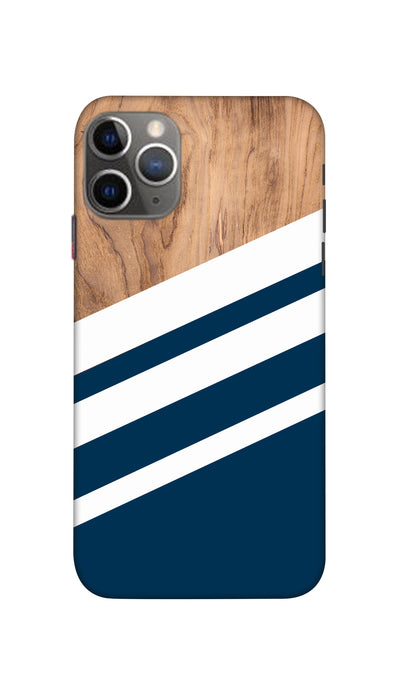Blue & Wooden Design Hard Case For Apple iPhone 11 Pro