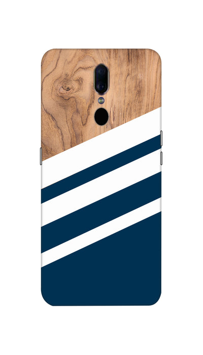 Blue & Wooden Design Hard Case For Oppo F11