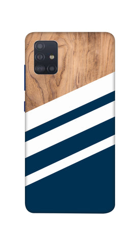 Blue & Wooden Design Hard Case For Samsung A51