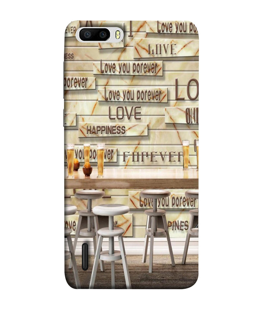 Honor 6 Plus CafŽ Love Forever Designed Back Cover