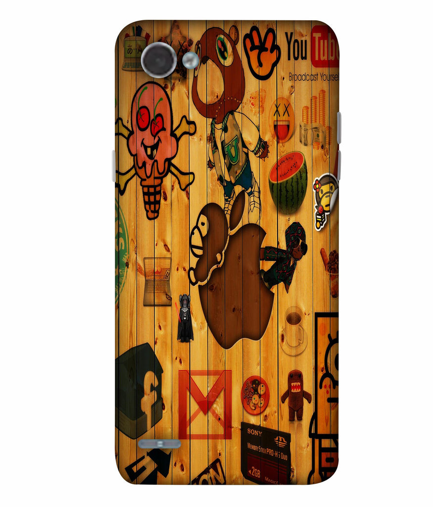 LGQ6  Funny Images On Wooden Designed Back Cover