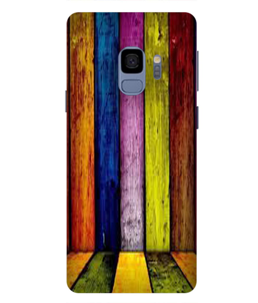 SAMSUNGS9 Coloured Wooden Lines Designed Back Cover