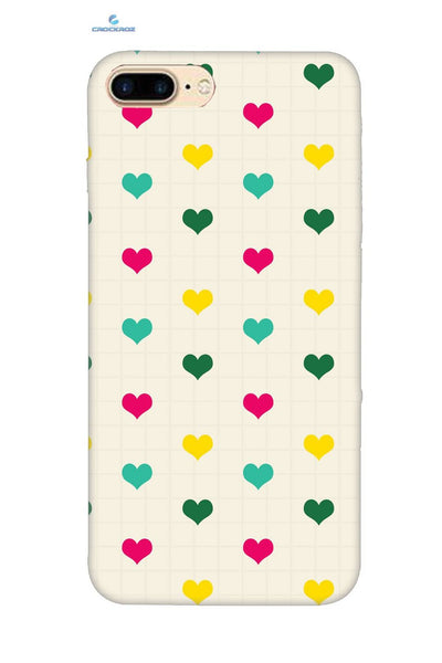 iPhone8 Plus Lined up hearts Designed Back Cover