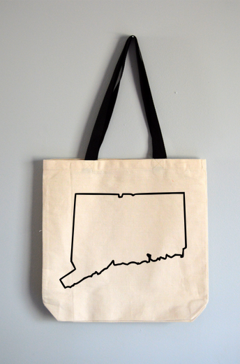 Connecticut Outline Tote Bag