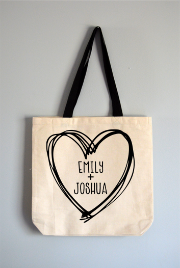 Custom Heart Names Tote Bag