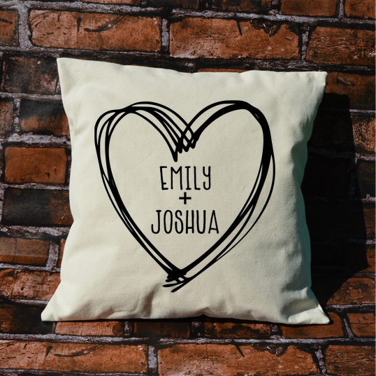 Custom Heart Names Pillow