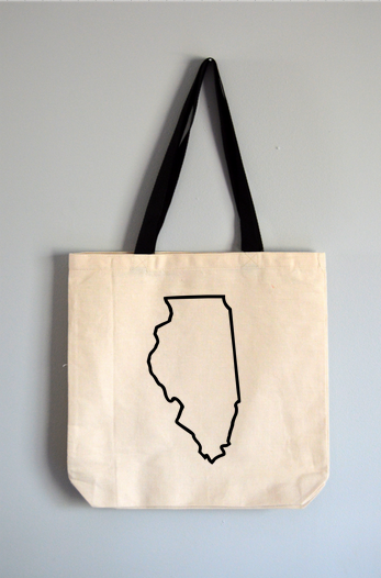 Illinois Outline Tote Bag