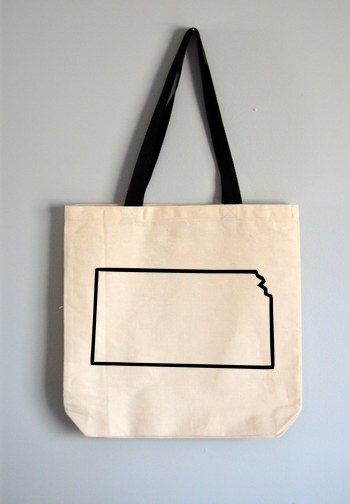 Kansas Outline Tote Bag