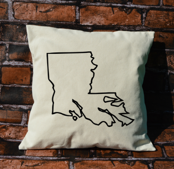 Louisiana outline pillow