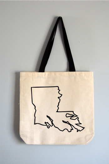 Louisiana Outline Tote Bag
