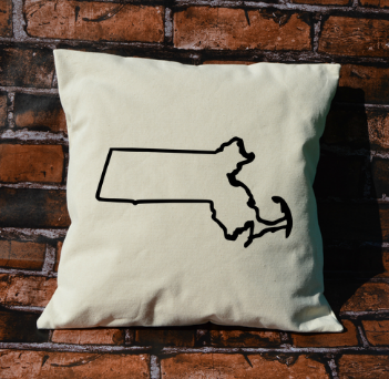 Massachusetts outline pillow