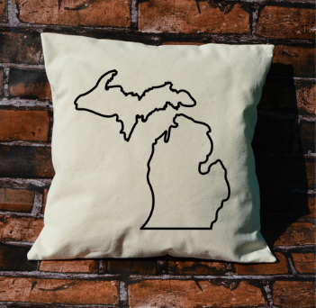 Michigan outline pillow
