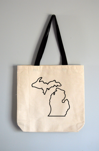 Michigan Outline Tote Bag