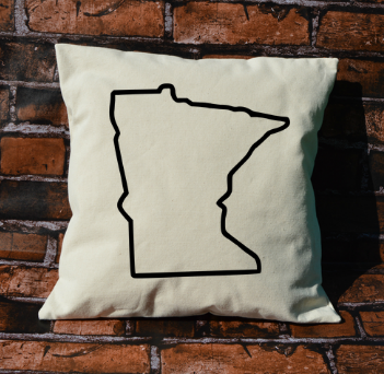 Minnesota outline pillow