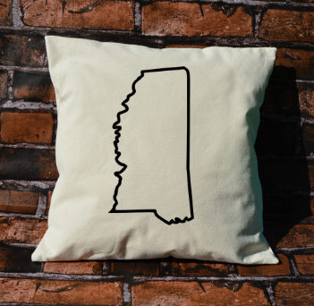 Mississippi outline pillow