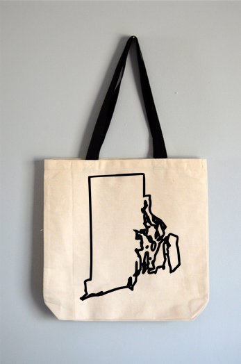 Rhode Island Outline Tote Bag