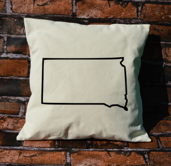 South Dakota outline pillow